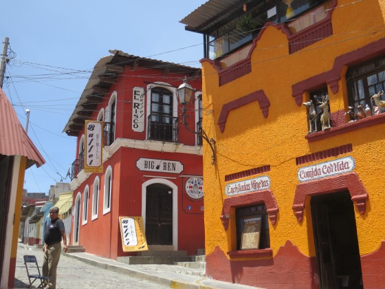 Yellow and red traditional Mexican buildings